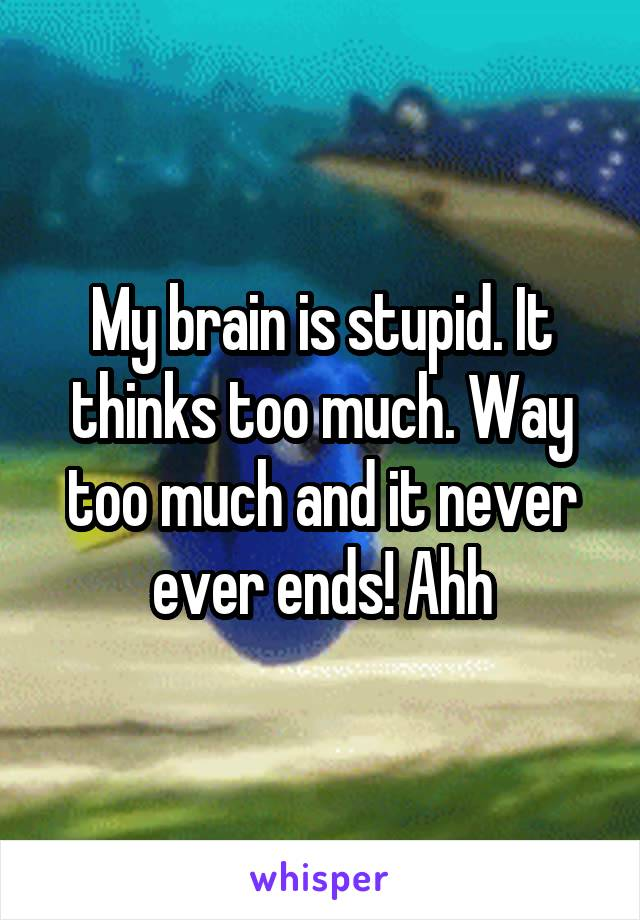 My brain is stupid. It thinks too much. Way too much and it never ever ends! Ahh