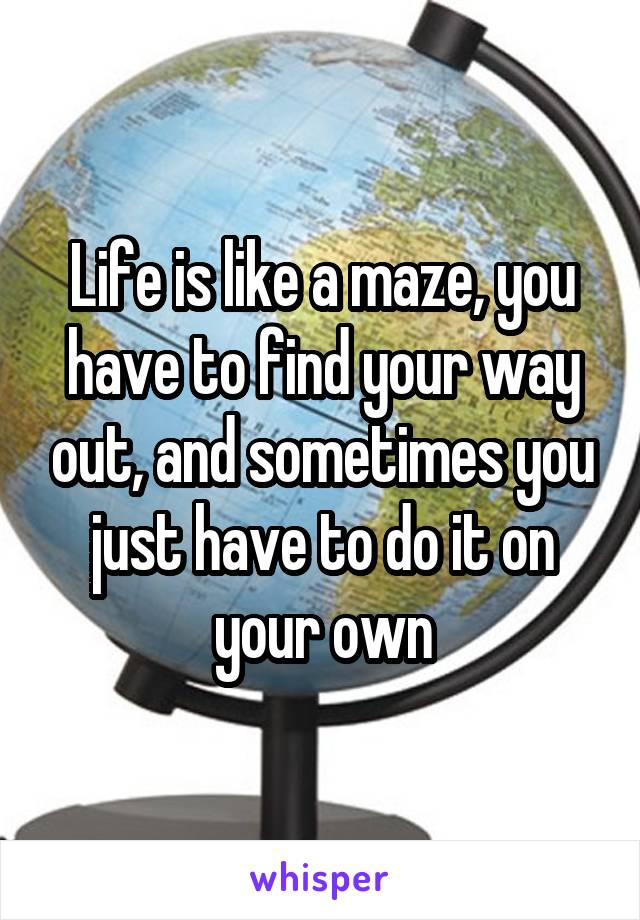 Life is like a maze, you have to find your way out, and sometimes you just have to do it on your own