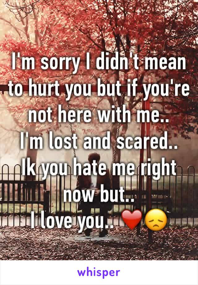 I'm sorry I didn't mean to hurt you but if you're not here with me..  I'm lost and scared..  Ik you hate me right now but..  I love you.. ❤️😞