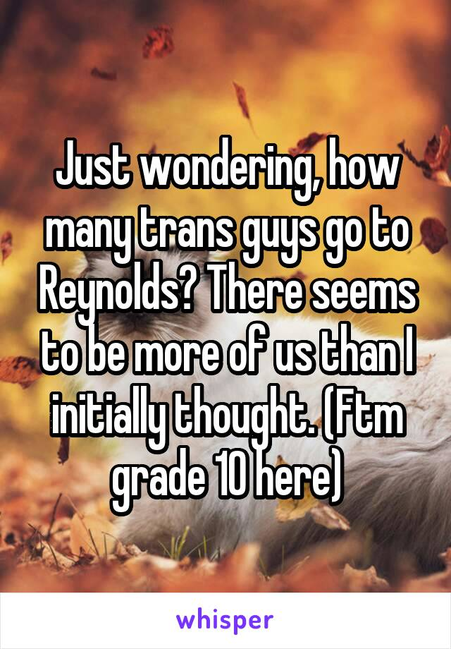 Just wondering, how many trans guys go to Reynolds? There seems to be more of us than I initially thought. (Ftm grade 10 here)