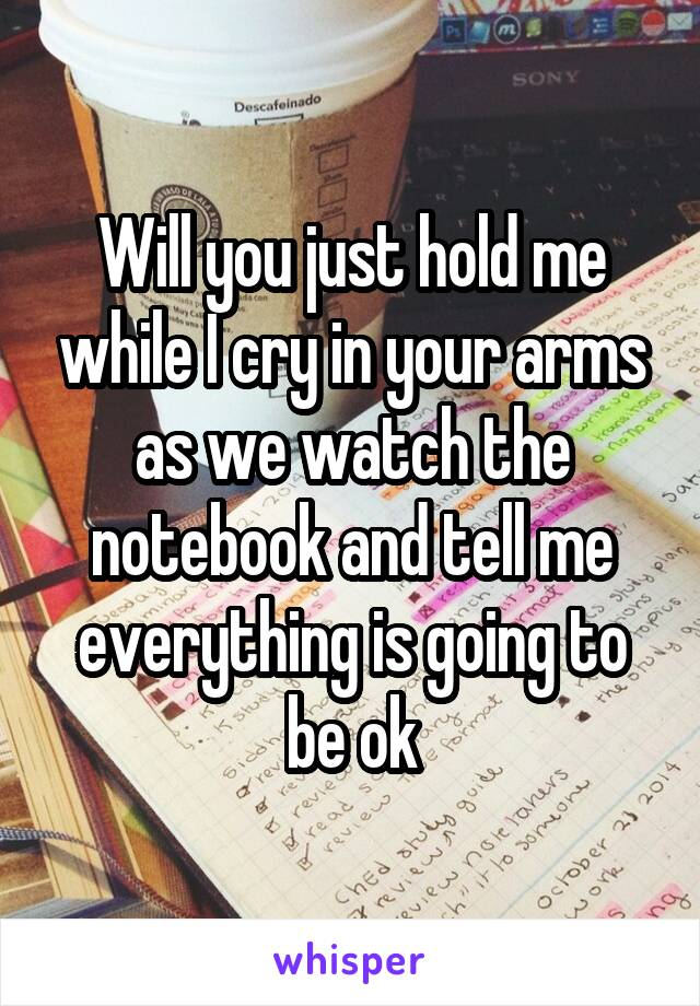 Will you just hold me while I cry in your arms as we watch the notebook and tell me everything is going to be ok