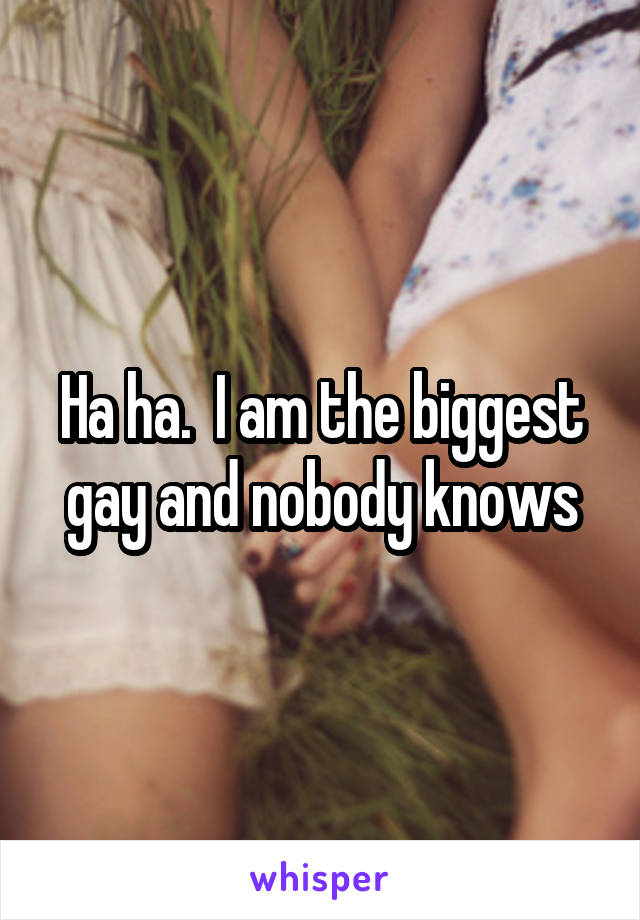 Ha ha.  I am the biggest gay and nobody knows