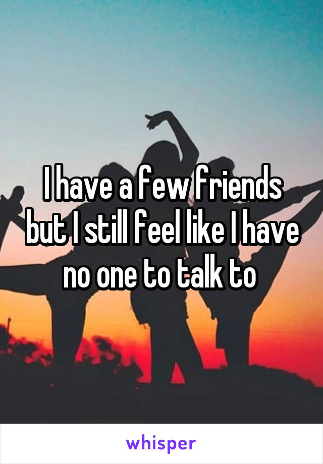 I have a few friends but I still feel like I have no one to talk to
