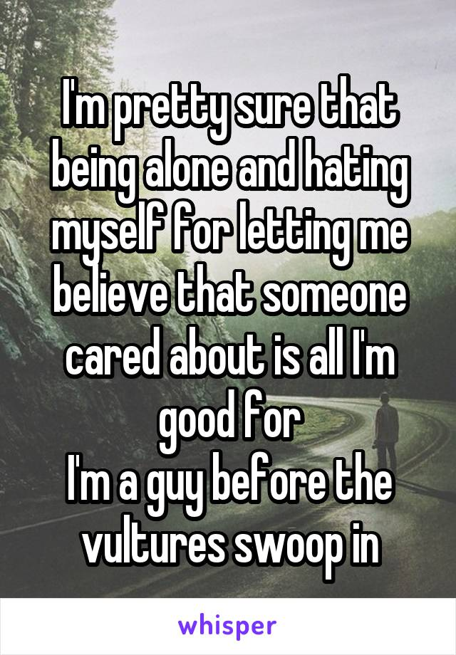 I'm pretty sure that being alone and hating myself for letting me believe that someone cared about is all I'm good for I'm a guy before the vultures swoop in