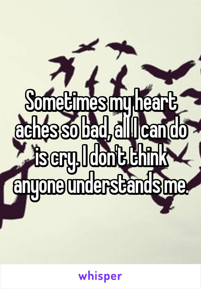 Sometimes my heart aches so bad, all I can do is cry. I don't think anyone understands me.