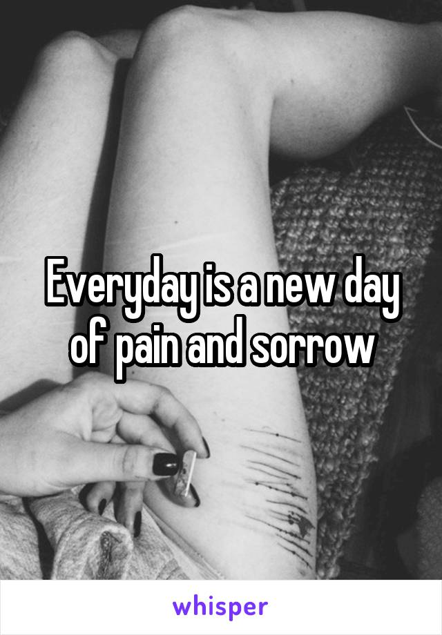 Everyday is a new day of pain and sorrow