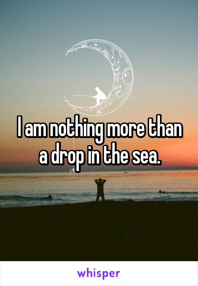 I am nothing more than a drop in the sea.