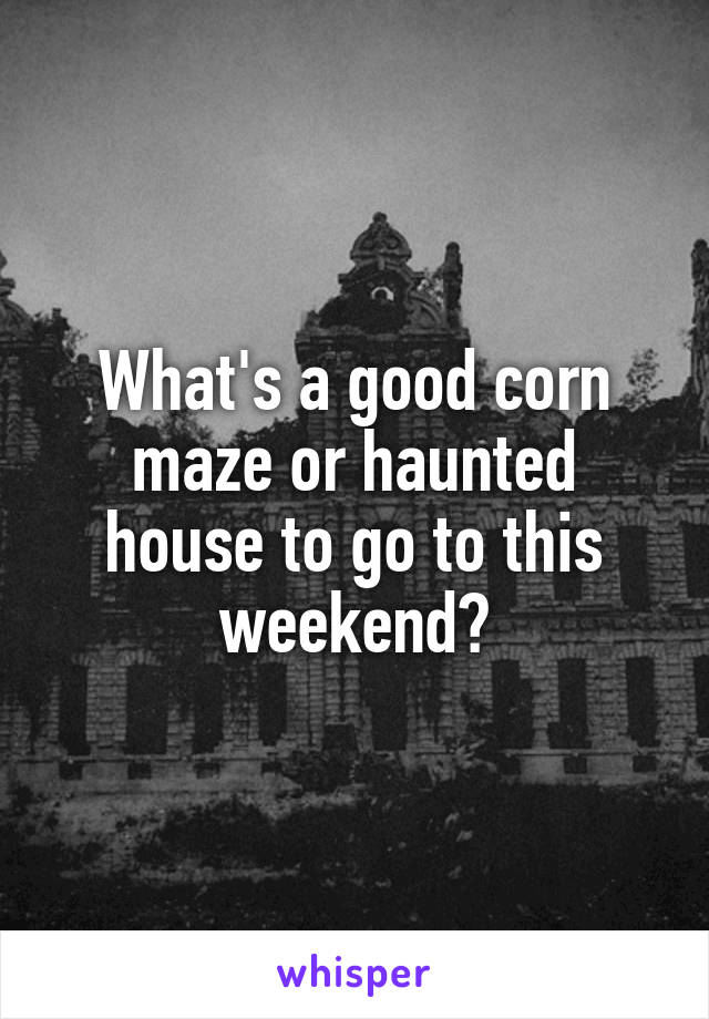 What's a good corn maze or haunted house to go to this weekend?