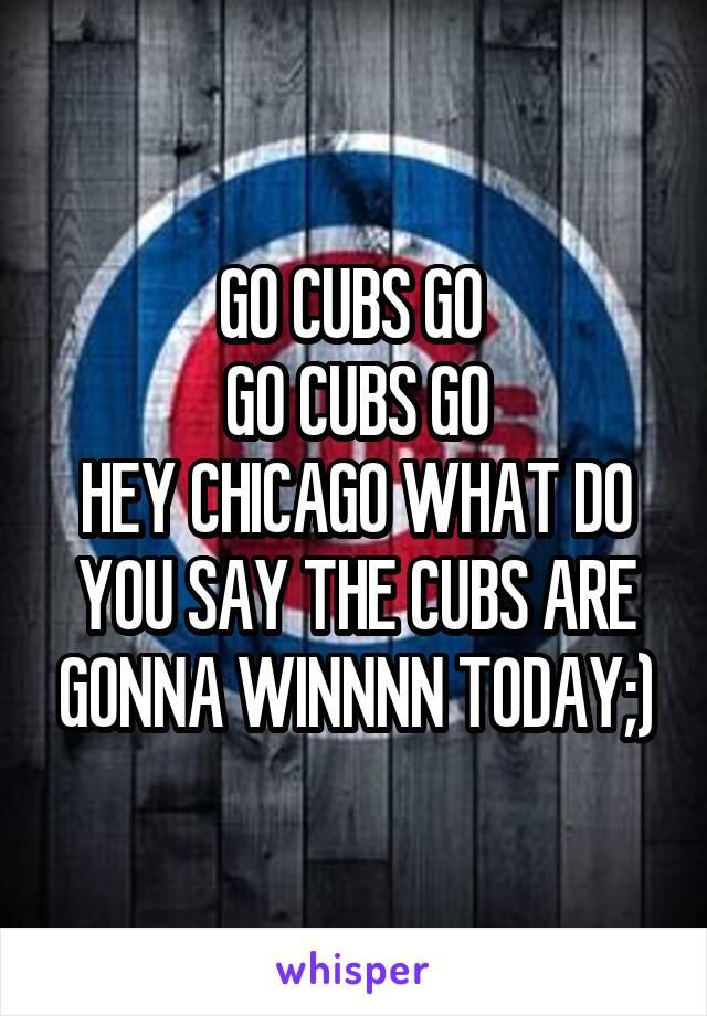 GO CUBS GO  GO CUBS GO HEY CHICAGO WHAT DO YOU SAY THE CUBS ARE GONNA WINNNN TODAY;)