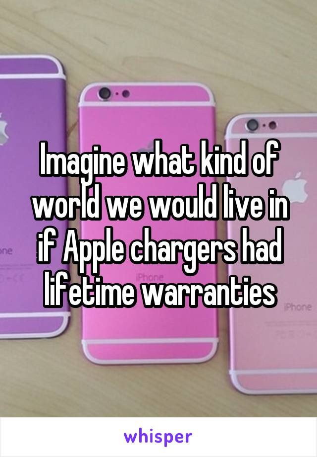 Imagine what kind of world we would live in if Apple chargers had lifetime warranties