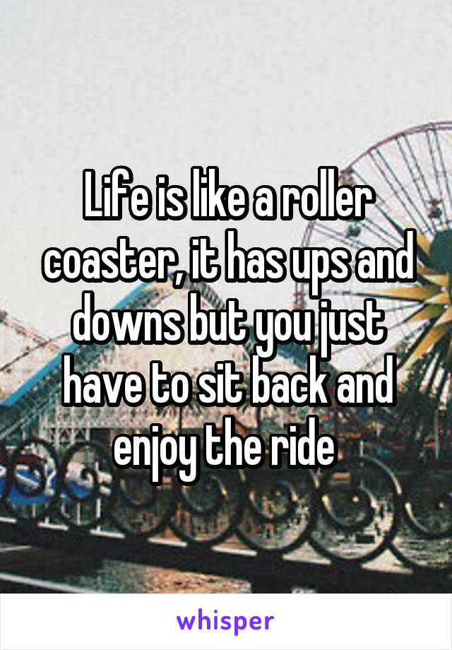 Life is like a roller coaster, it has ups and downs but you just have to sit back and enjoy the ride