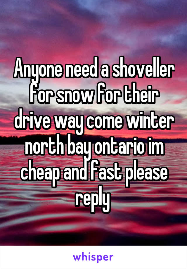 Anyone need a shoveller for snow for their drive way come winter north bay ontario im cheap and fast please reply