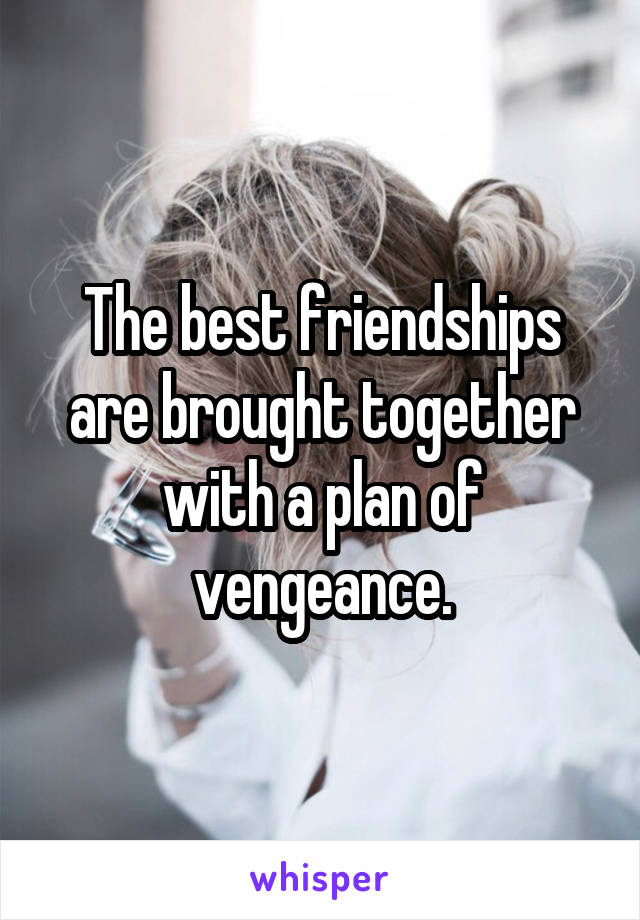 The best friendships are brought together with a plan of vengeance.