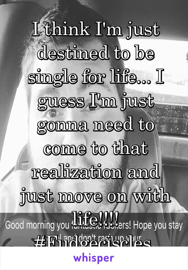 I think I'm just destined to be single for life... I guess I'm just gonna need to come to that realization and just move on with life!!!! #Fudgeciscles