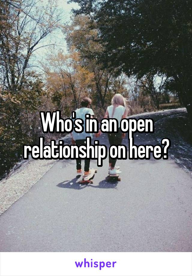 Who's in an open relationship on here?