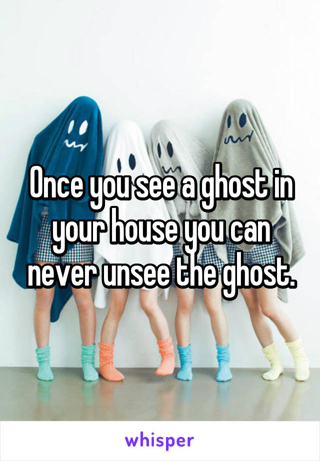 Once you see a ghost in your house you can never unsee the ghost.