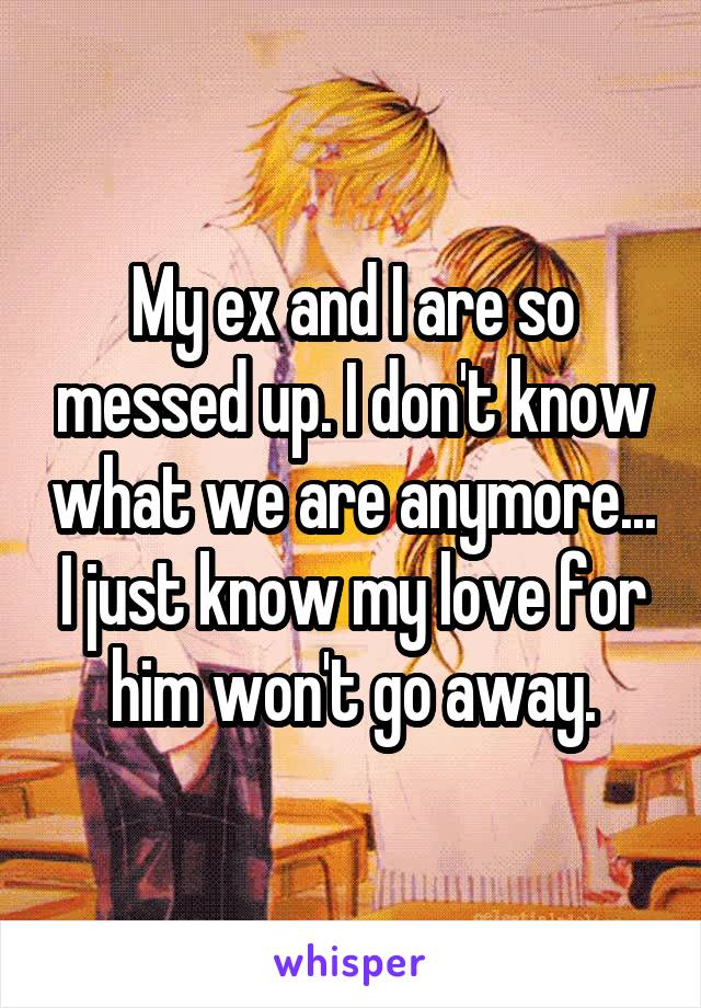 My ex and I are so messed up. I don't know what we are anymore... I just know my love for him won't go away.