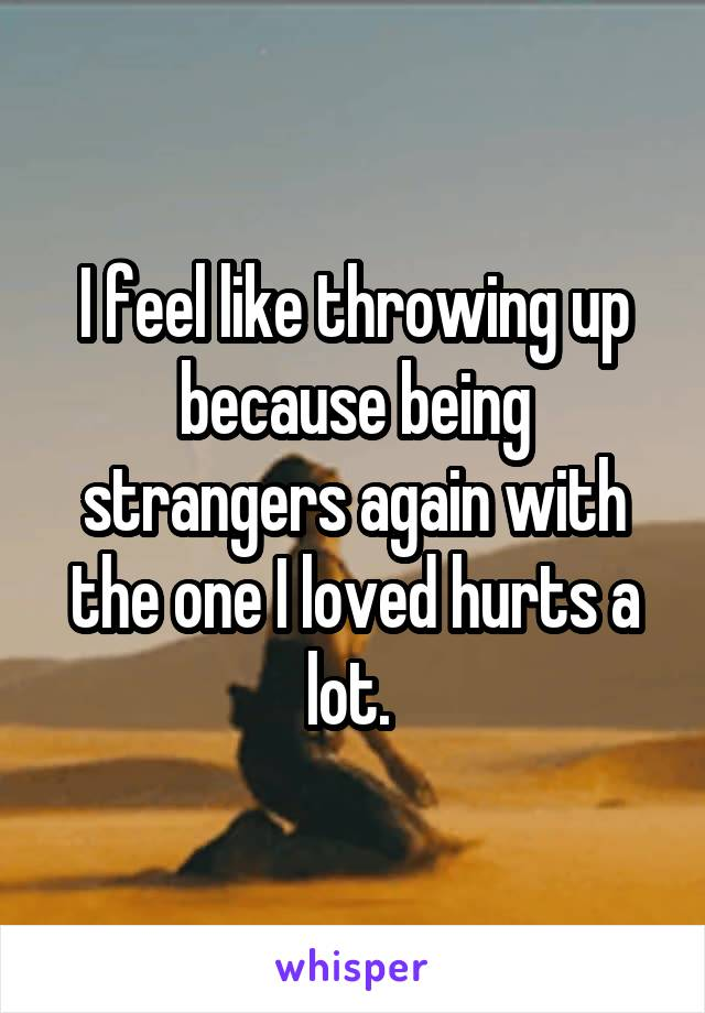 I feel like throwing up because being strangers again with the one I loved hurts a lot.