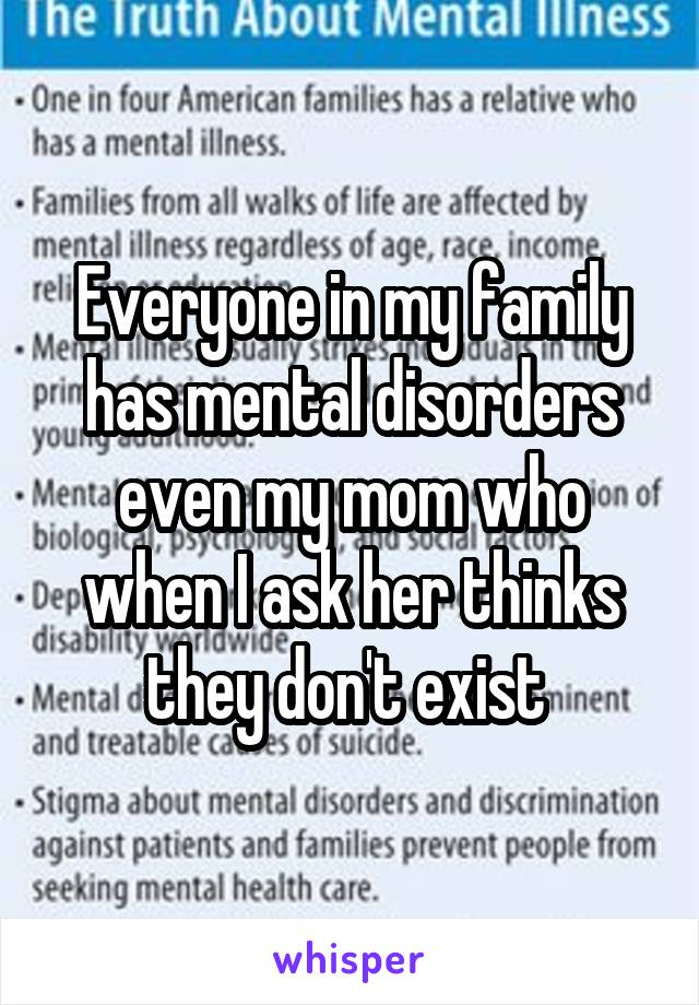Everyone in my family has mental disorders even my mom who when I ask her thinks they don't exist