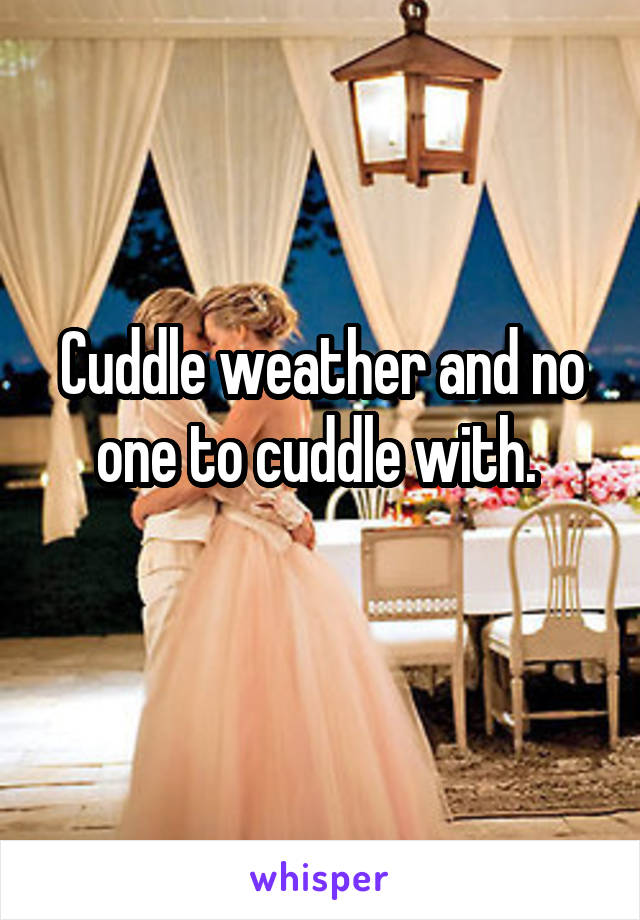 Cuddle weather and no one to cuddle with.