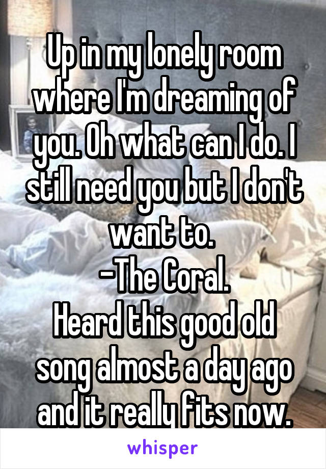 Up in my lonely room where I'm dreaming of you. Oh what can I do. I still need you but I don't want to.  -The Coral. Heard this good old song almost a day ago and it really fits now.