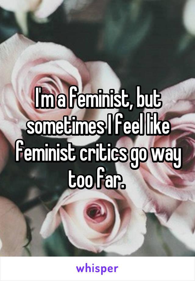 I'm a feminist, but sometimes I feel like feminist critics go way too far.