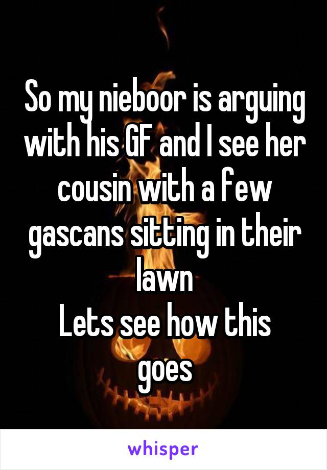 So my nieboor is arguing with his GF and I see her cousin with a few gascans sitting in their lawn Lets see how this goes
