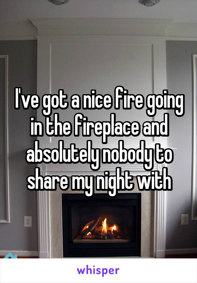 I've got a nice fire going in the fireplace and absolutely nobody to share my night with
