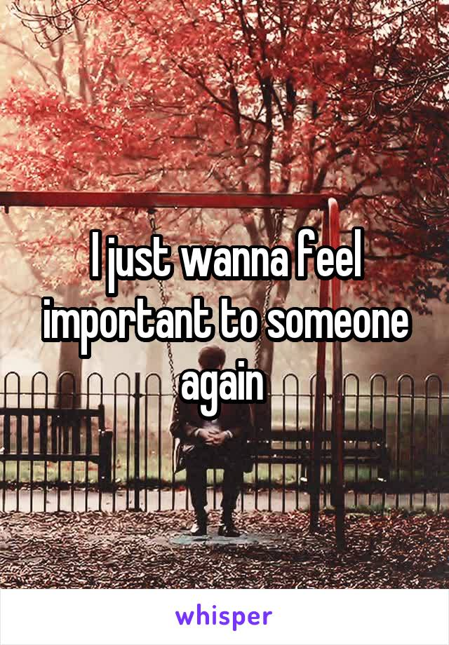 I just wanna feel important to someone again