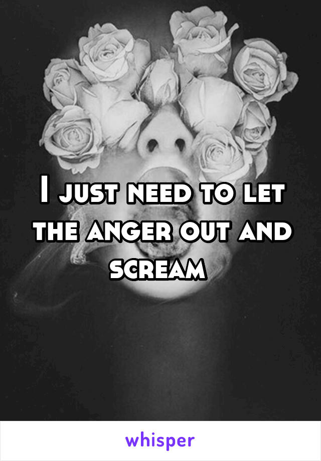 I just need to let the anger out and scream