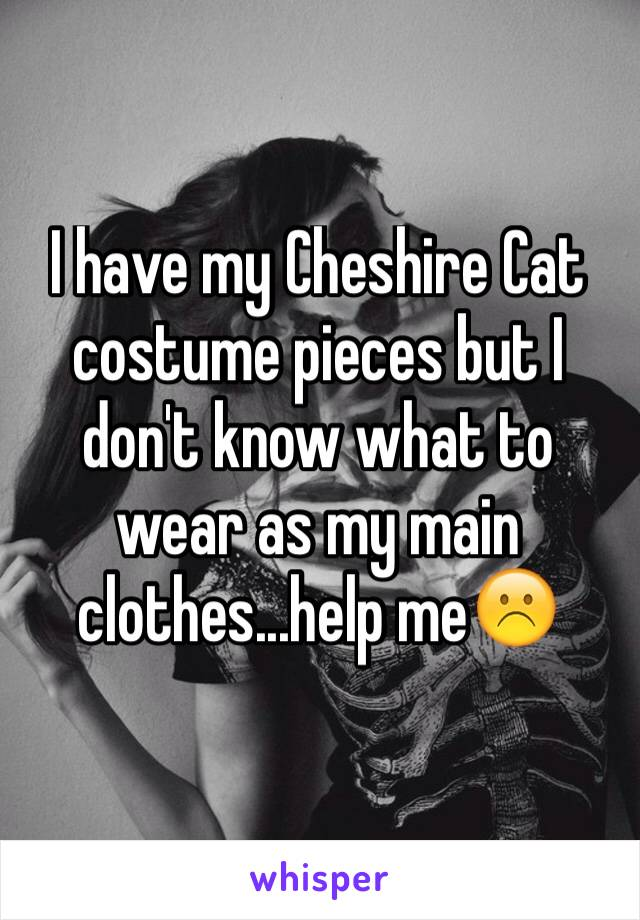 I have my Cheshire Cat costume pieces but I don't know what to wear as my main clothes...help me☹️