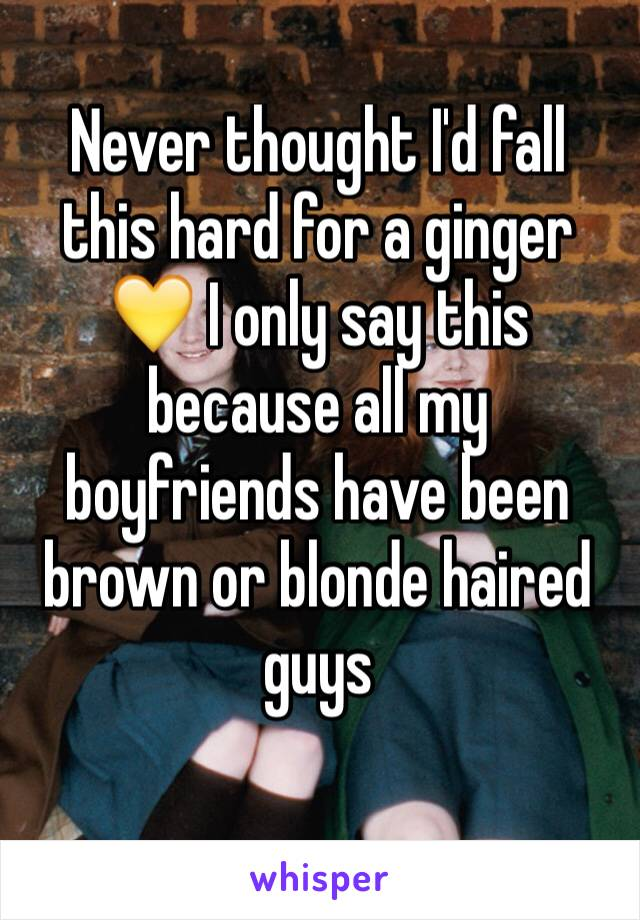 Never thought I'd fall this hard for a ginger 💛 I only say this because all my boyfriends have been brown or blonde haired guys