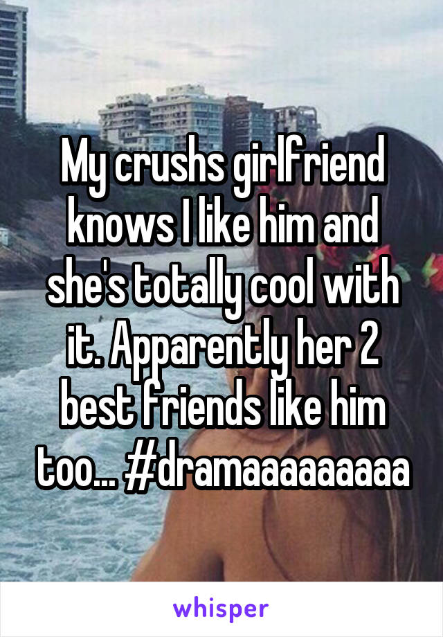 My crushs girlfriend knows I like him and she's totally cool with it. Apparently her 2 best friends like him too... #dramaaaaaaaaa