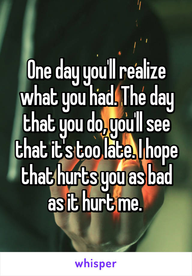 One day you'll realize what you had. The day that you do, you'll see that it's too late. I hope that hurts you as bad as it hurt me.