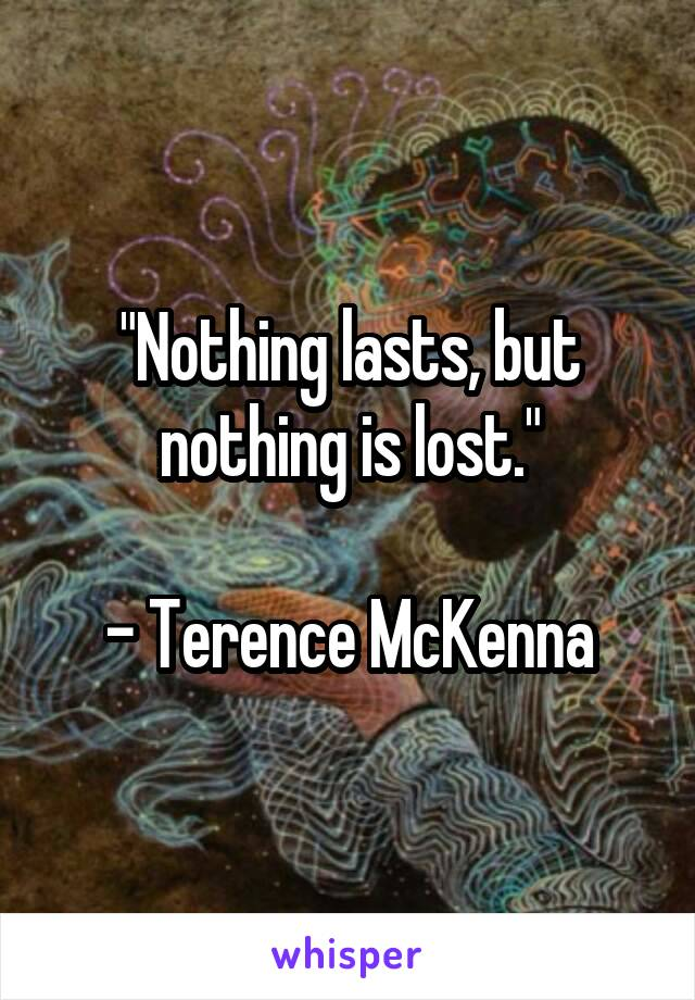"""""""Nothing lasts, but nothing is lost.""""  - Terence McKenna"""