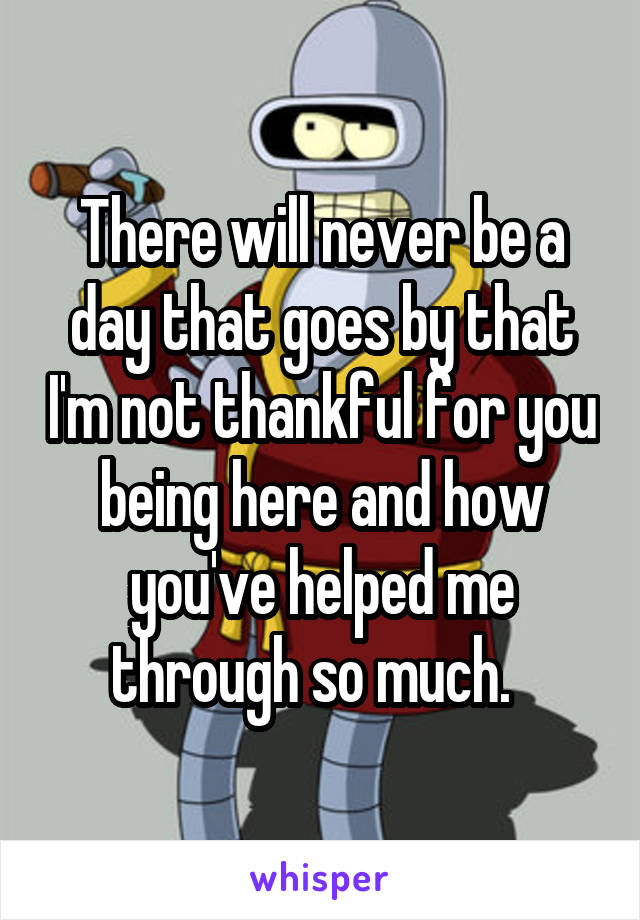There will never be a day that goes by that I'm not thankful for you being here and how you've helped me through so much.