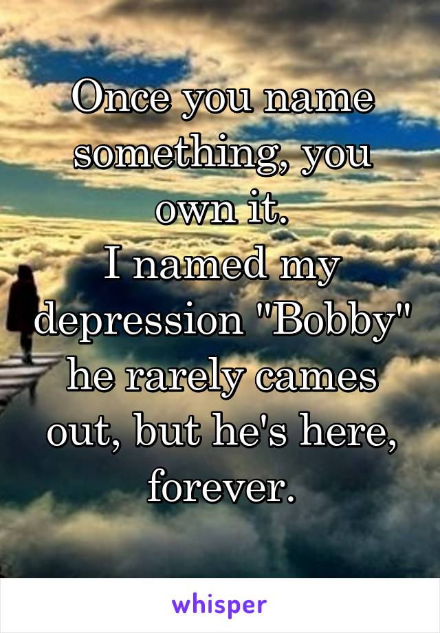 "Once you name something, you own it. I named my depression ""Bobby"" he rarely cames out, but he's here, forever."