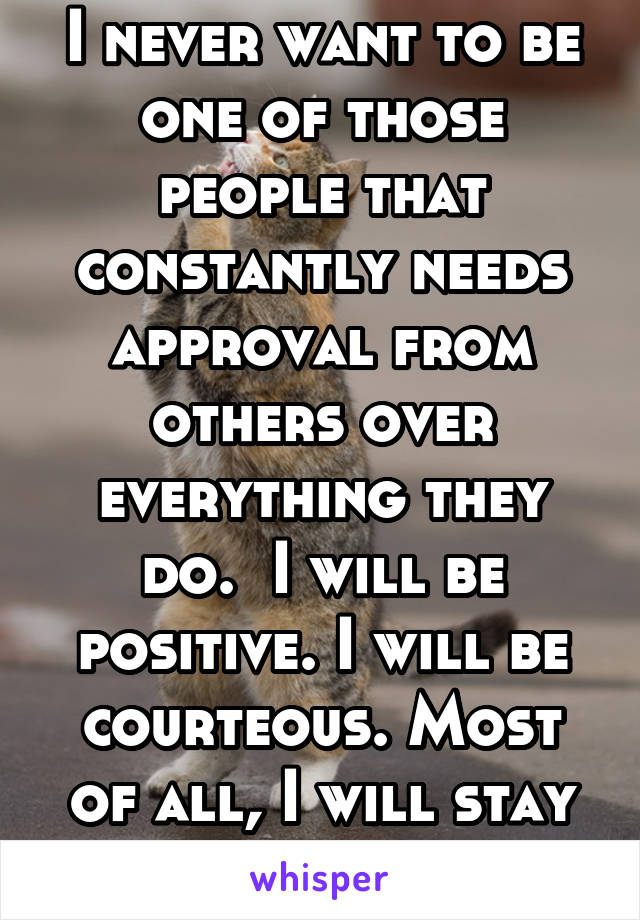 I never want to be one of those people that constantly needs approval from others over everything they do.  I will be positive. I will be courteous. Most of all, I will stay true to myself.