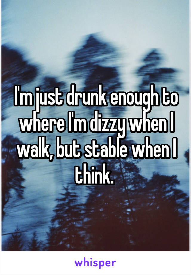 I'm just drunk enough to where I'm dizzy when I walk, but stable when I think.
