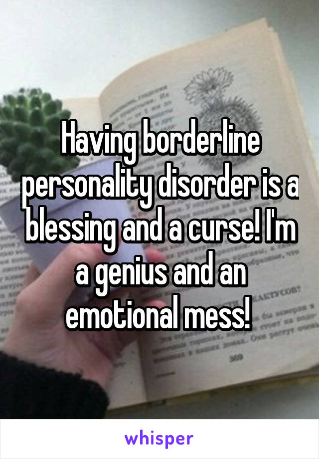 Having borderline personality disorder is a blessing and a curse! I'm a genius and an emotional mess!