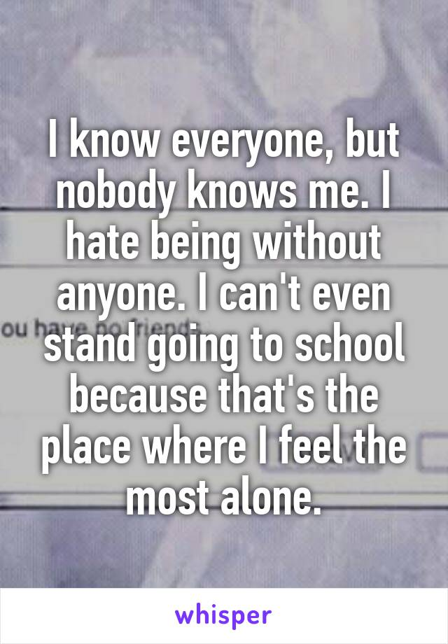 I know everyone, but nobody knows me. I hate being without anyone. I can't even stand going to school because that's the place where I feel the most alone.
