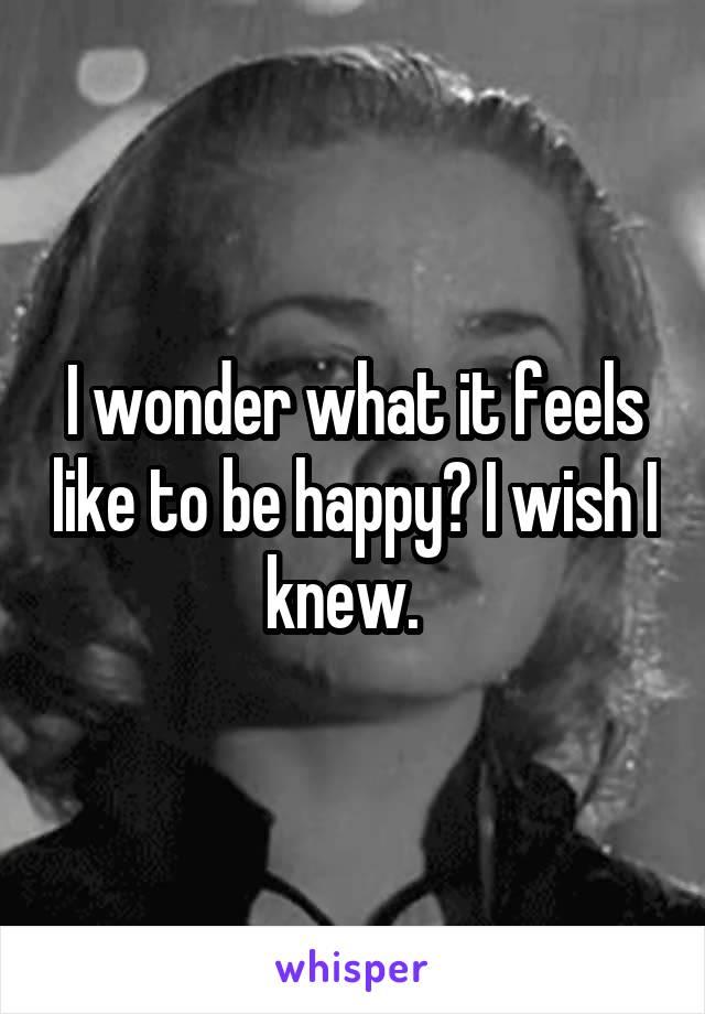 I wonder what it feels like to be happy? I wish I knew.