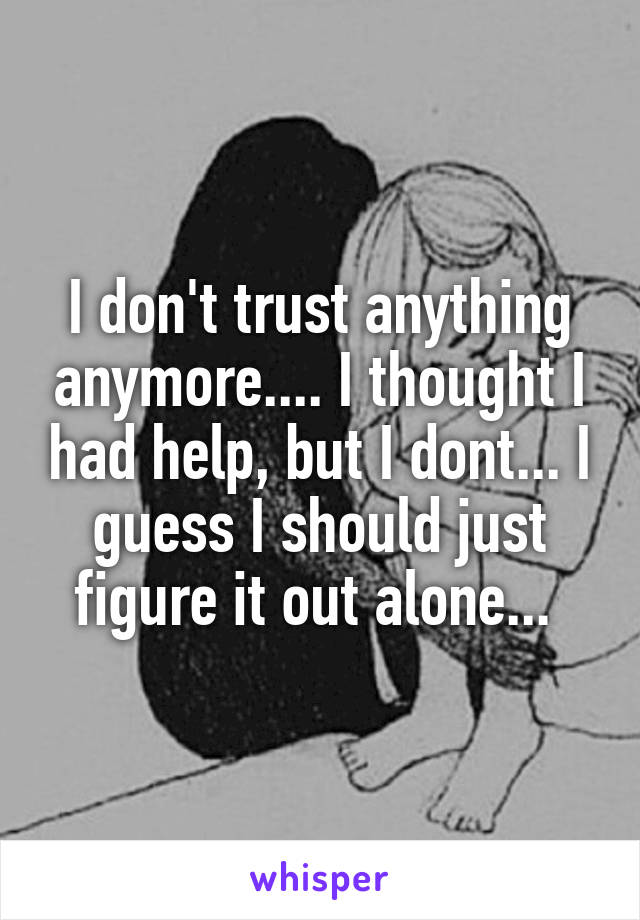 I don't trust anything anymore.... I thought I had help, but I dont... I guess I should just figure it out alone...
