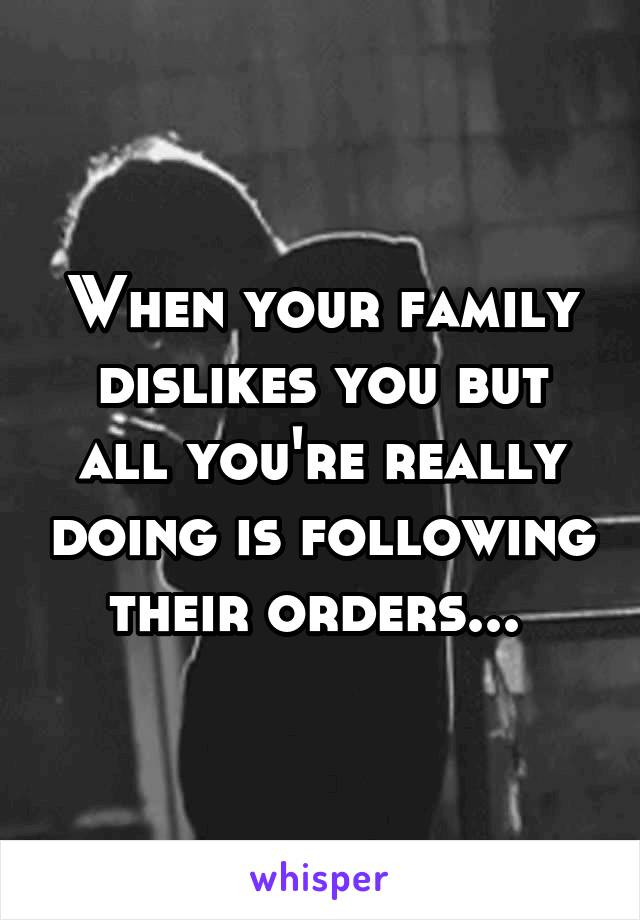 When your family dislikes you but all you're really doing is following their orders...