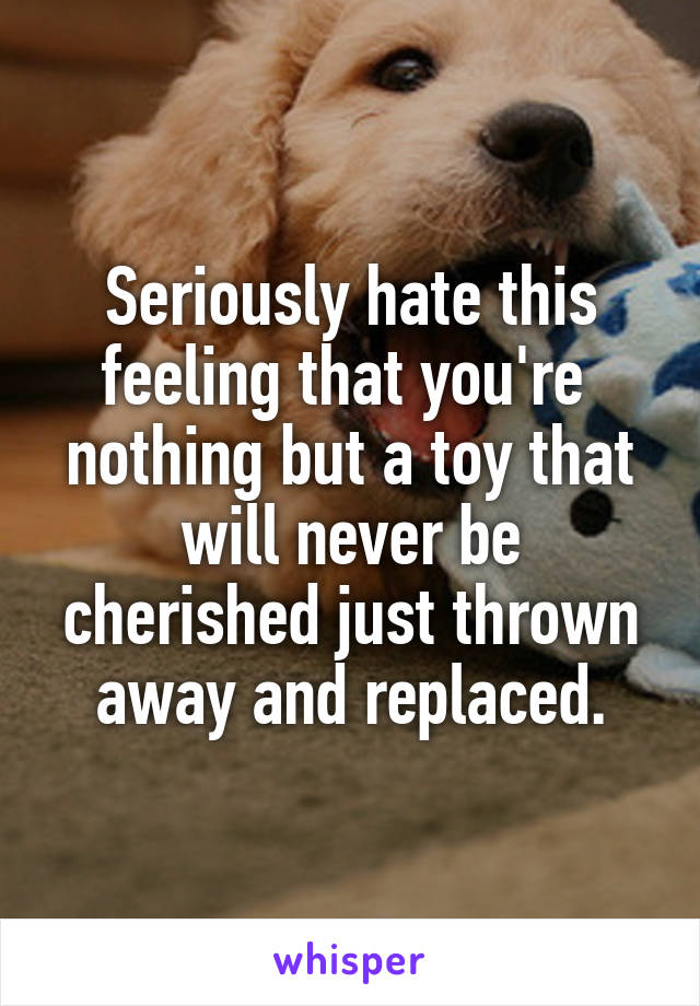 Seriously hate this feeling that you're  nothing but a toy that will never be cherished just thrown away and replaced.