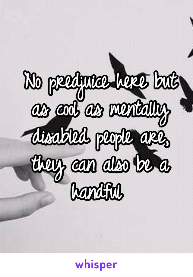No predjuice here but as cool as mentally disabled people are, they can also be a handful