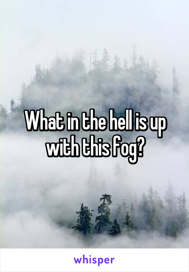 What in the hell is up with this fog?