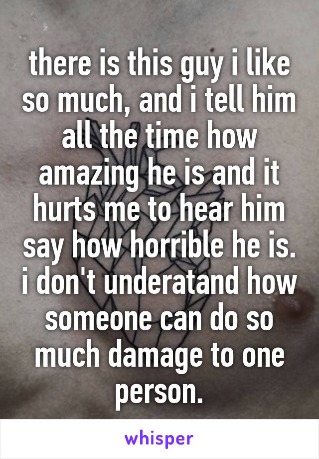 there is this guy i like so much, and i tell him all the time how amazing he is and it hurts me to hear him say how horrible he is. i don't underatand how someone can do so much damage to one person.