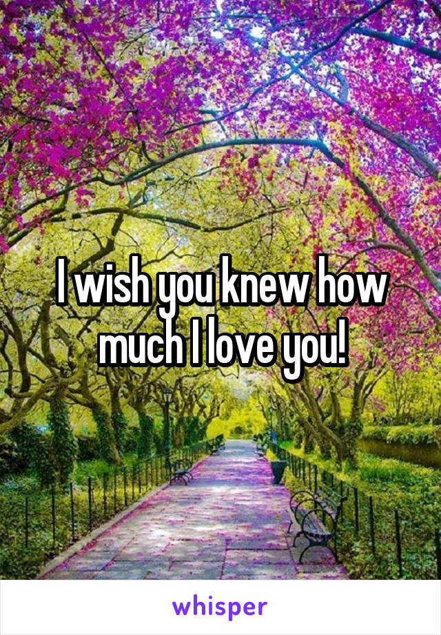 I wish you knew how much I love you!