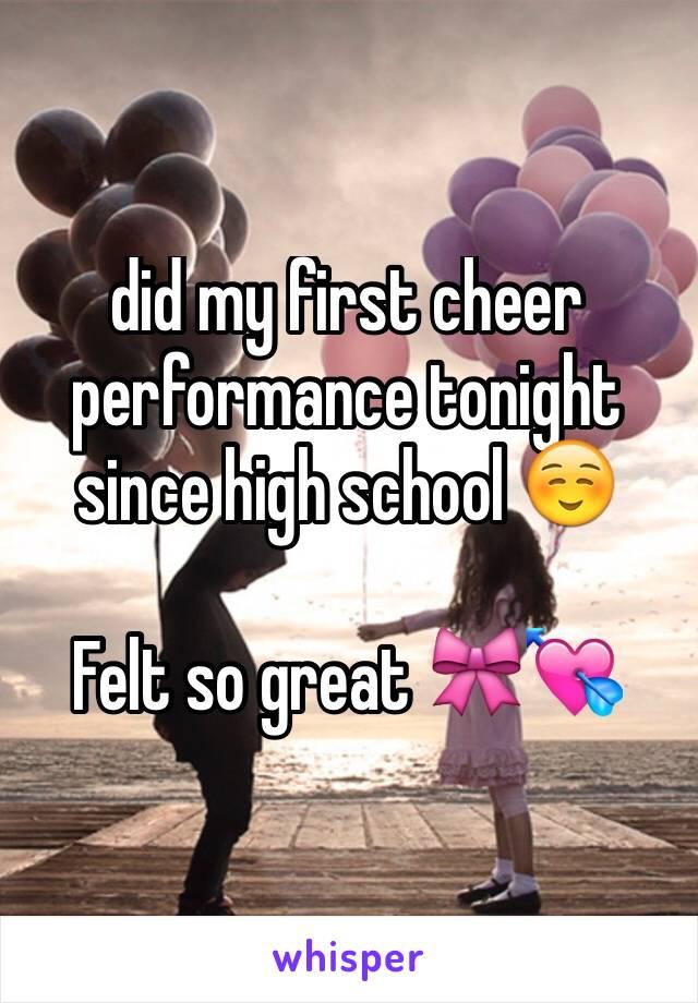 did my first cheer performance tonight since high school ☺️  Felt so great 🎀💘
